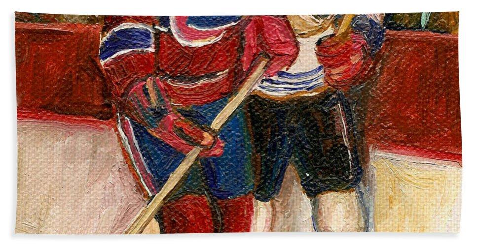 Hockey Bath Towel featuring the painting Hockey Stars At The Forum by Carole Spandau
