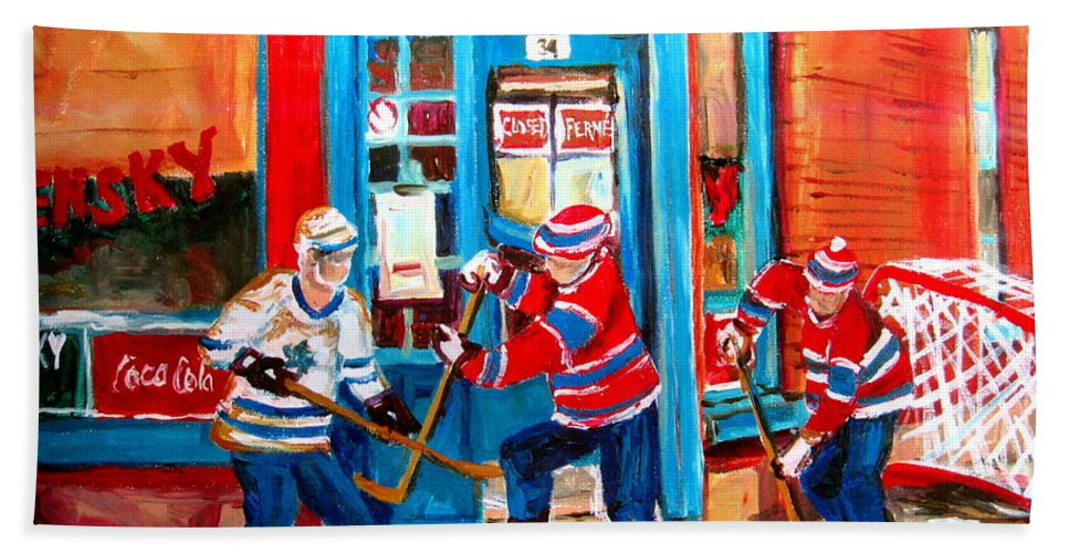 Wilenskys Hand Towel featuring the painting Hockey Sticks In Action by Carole Spandau