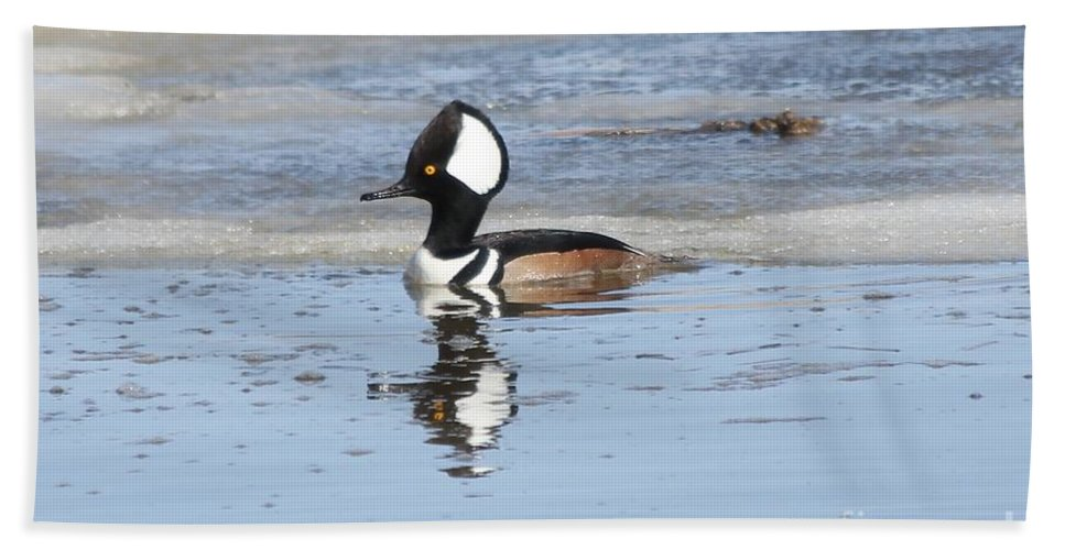 Hodded Hand Towel featuring the photograph Hodded Merganser With Reflection by Lori Tordsen