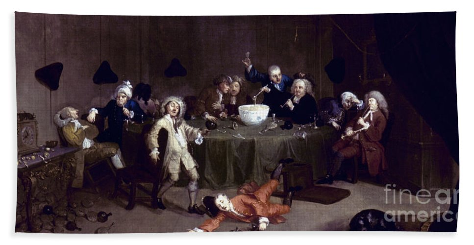 18th Century Hand Towel featuring the photograph Hogarth: Midnight, 1731 by Granger