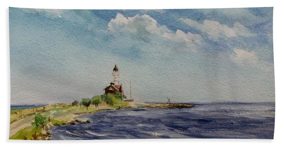 Lighthouse Bath Sheet featuring the painting Hogby Lighthouse by Mona Davis