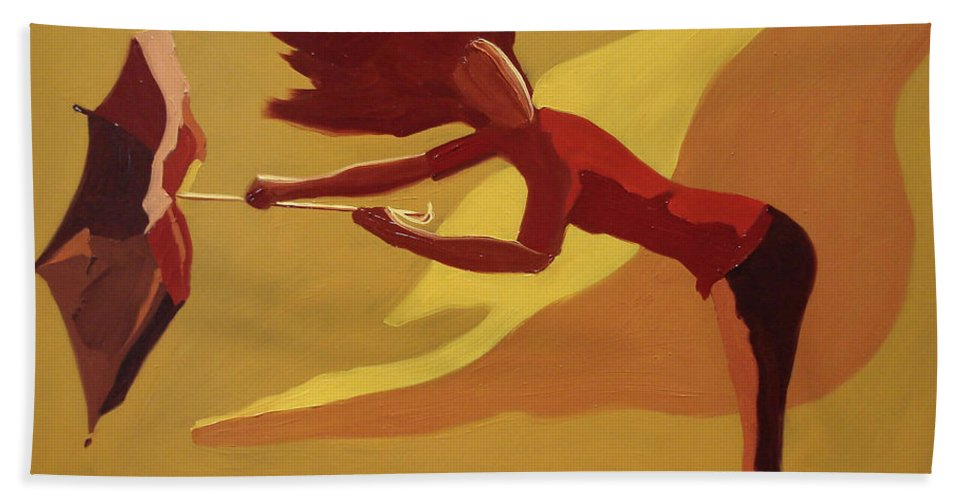 Woman Bath Towel featuring the painting Hold On by Barbara Andolsek