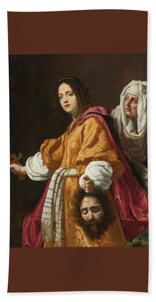 Cristofano Allori (italian Bath Sheet featuring the painting Holding The Head Of Holofernes by MotionAge Designs