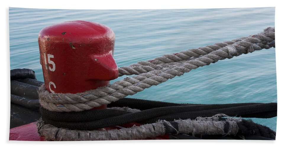 Chicago Windy City Navy Pier Lake Michigan Water Red Blue Wave Rope Ship Boat Bath Towel featuring the photograph Holding Tight by Andrei Shliakhau