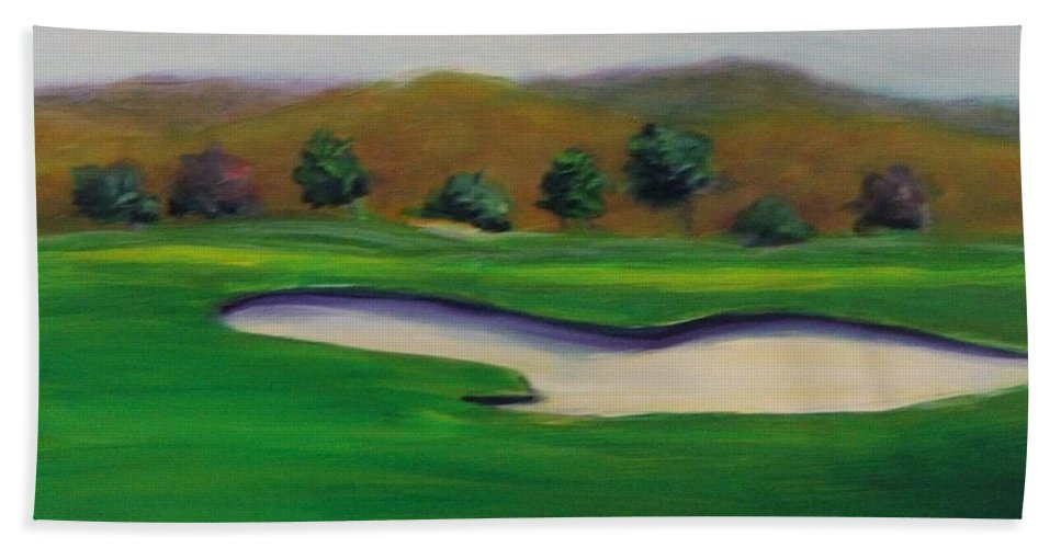 Golf Hand Towel featuring the painting Hole 1 Great Beginnings by Shannon Grissom