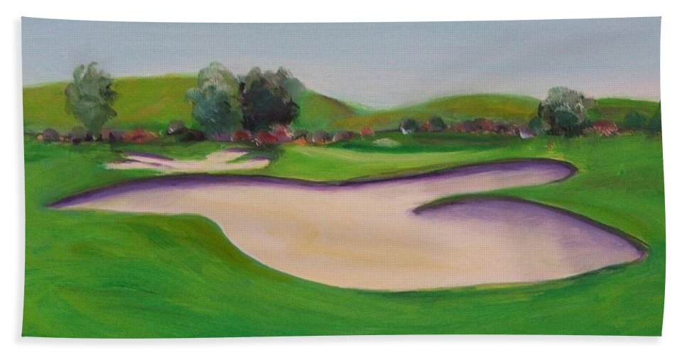 Golf Hand Towel featuring the painting Hole 10 Pastures Of Heaven by Shannon Grissom