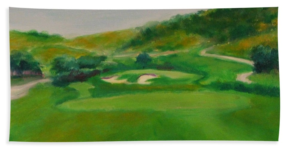 Golf Bath Sheet featuring the painting Hole 16 Kipp's Wild Ride by Shannon Grissom