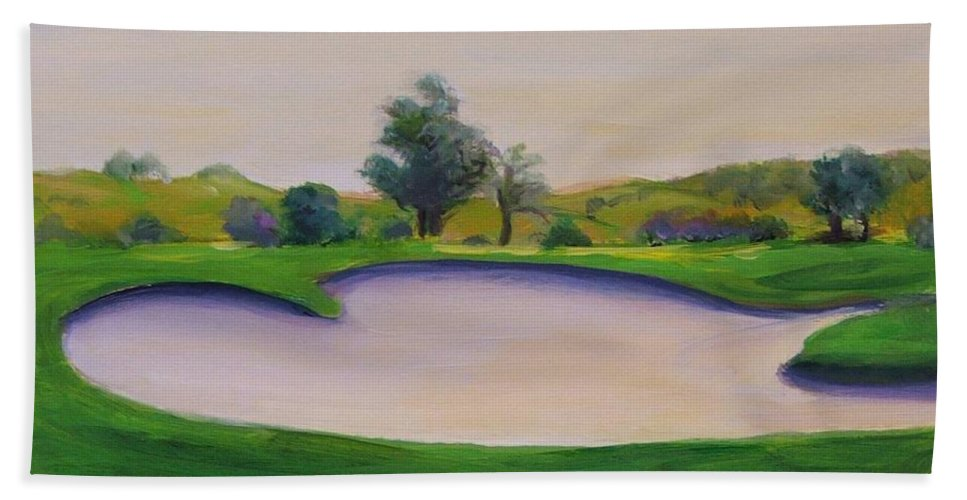 Golf Hand Towel featuring the painting Hole 2 Nuttings Creek by Shannon Grissom