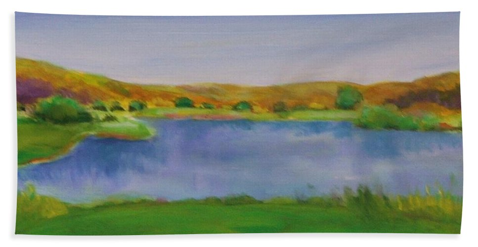 Golf Hand Towel featuring the painting Hole 3 Fade Away by Shannon Grissom