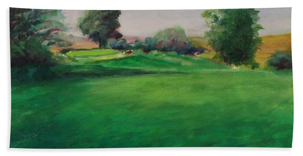 Golf Bath Sheet featuring the painting Hole 6 Natures Kiss by Shannon Grissom