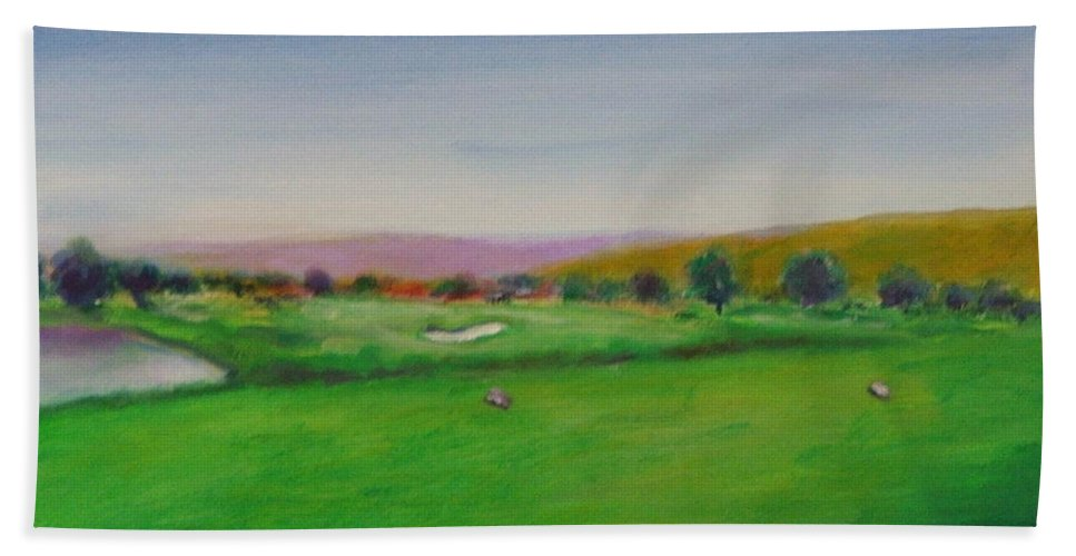 Golf Hand Towel featuring the painting Hole 7 Of Mice And Men by Shannon Grissom