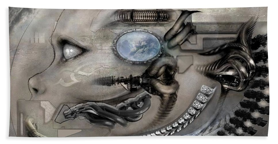 Alien Avp Hand Towel featuring the digital art Hole In The Sky by George Hinckle