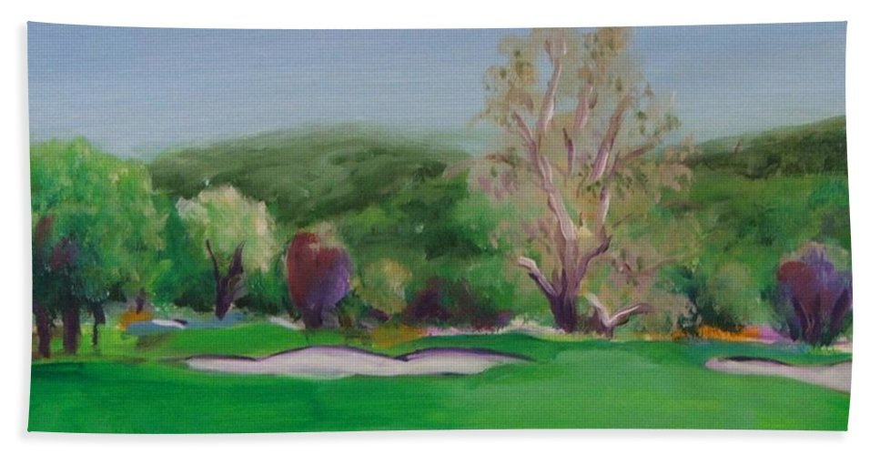 Golf Hand Towel featuring the painting Hole12 Ohlone Ridge by Shannon Grissom