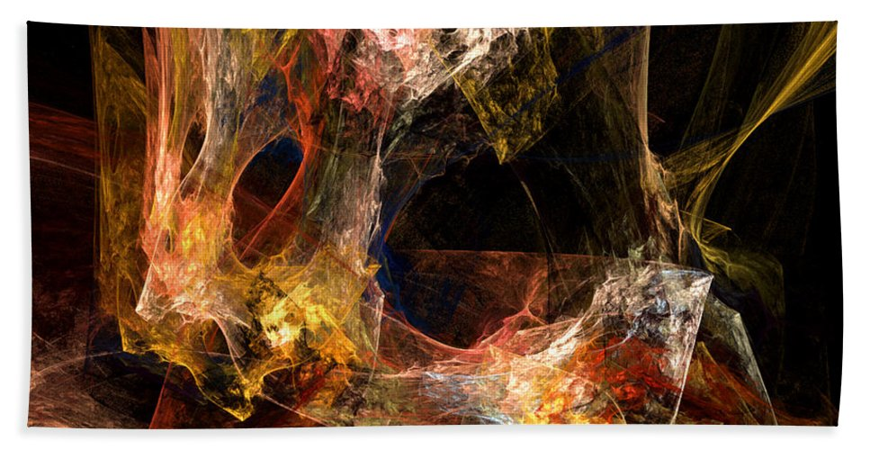 Abstract Hand Towel featuring the digital art Holes by Ruth Palmer