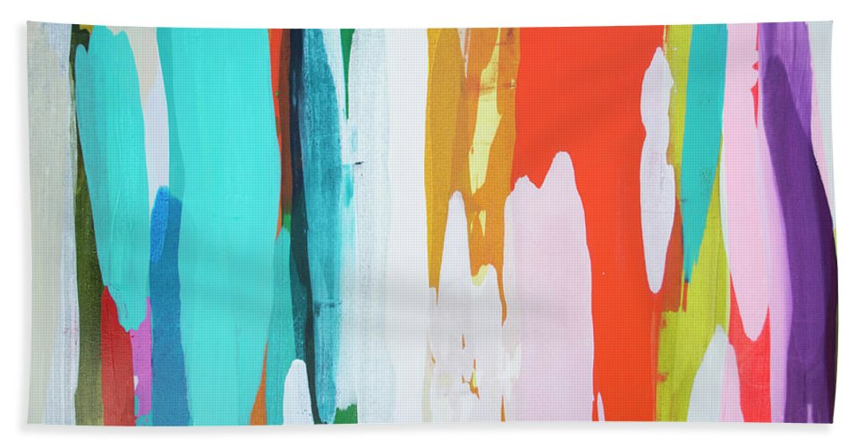 Abstract Hand Towel featuring the painting Holiday Everyday by Claire Desjardins