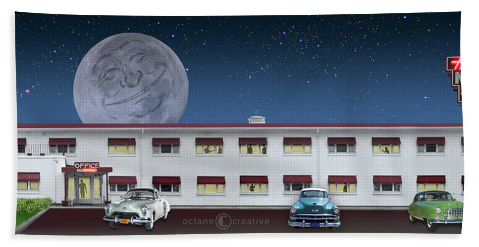 Motel Bath Sheet featuring the photograph Holiday Motel by Tim Nyberg