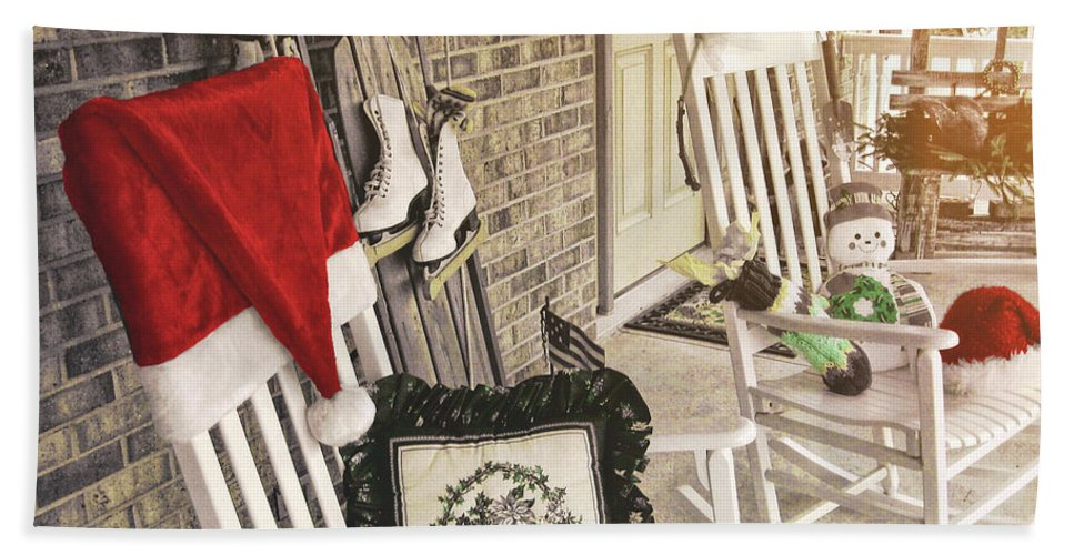 Holiday Bath Sheet featuring the photograph Holiday Porch by JAMART Photography
