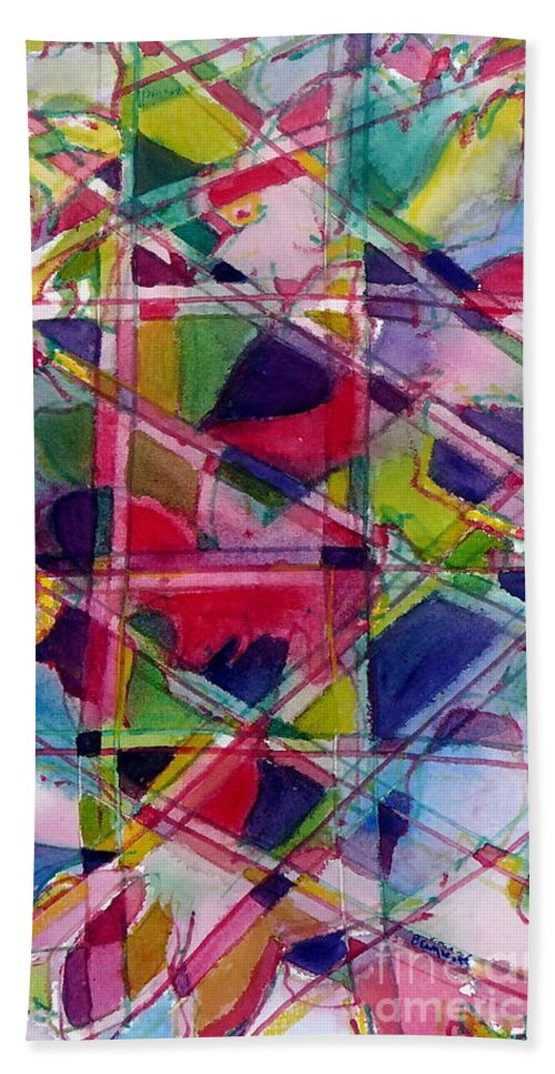Abstract Hand Towel featuring the painting Holiday Rush by Jan Bennicoff