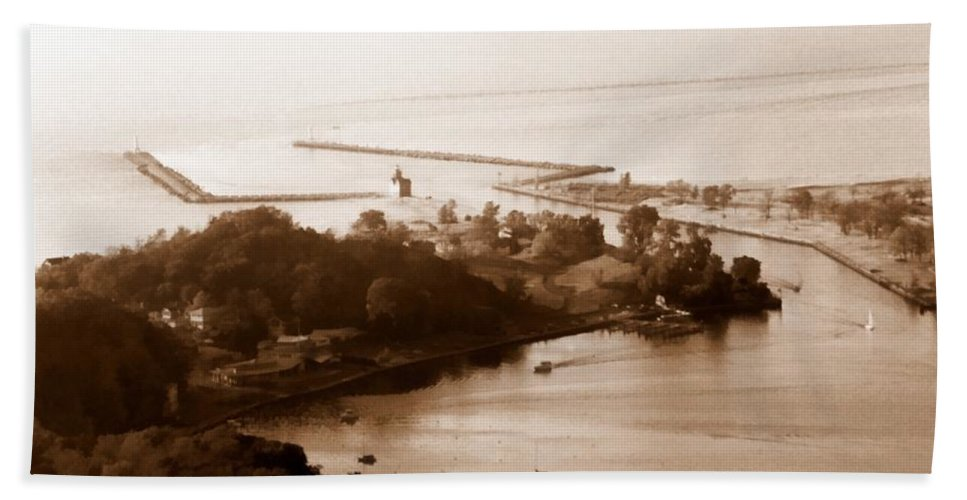 Holland Bath Sheet featuring the photograph Holland Michigan Harbor Big Red Aerial Photo by Michelle Calkins