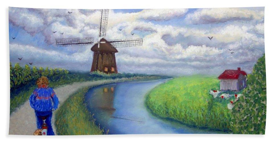 Biking Hand Towel featuring the painting Holland Windmill Bike Path by Minaz Jantz
