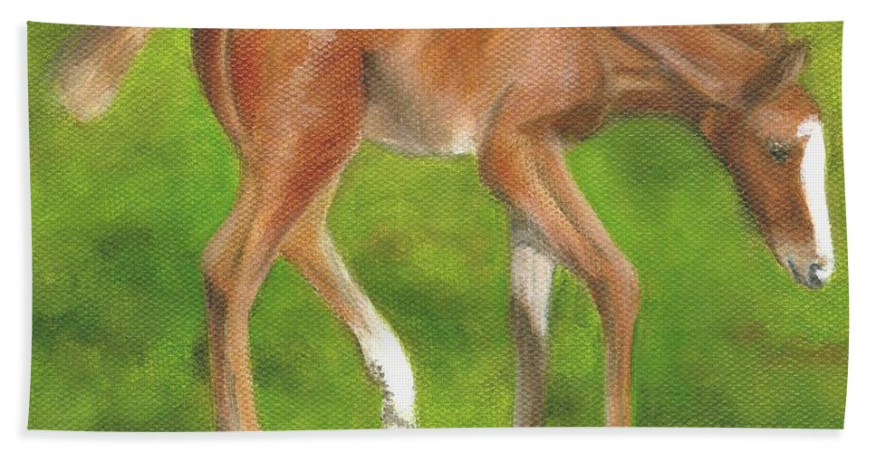 Horse Paintings Hand Towel featuring the painting Holly by Deborah Butts