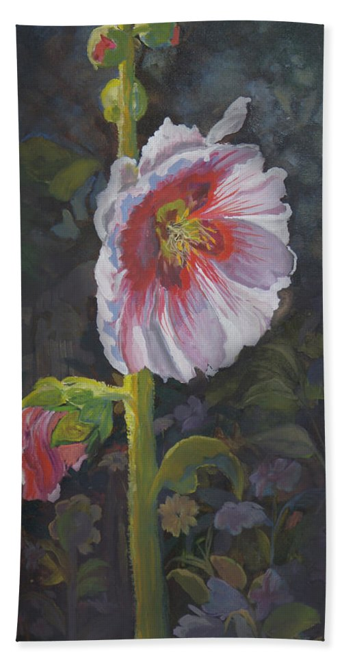 Flower Bath Sheet featuring the painting Hollyhock by Heather Coen
