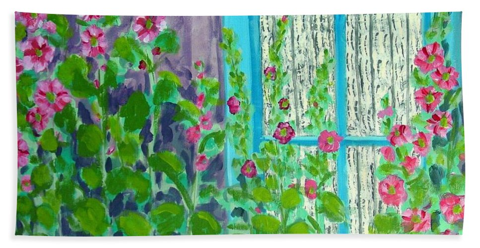 Hollyhocks Hand Towel featuring the painting Hollyhock Surprise by Laurie Morgan