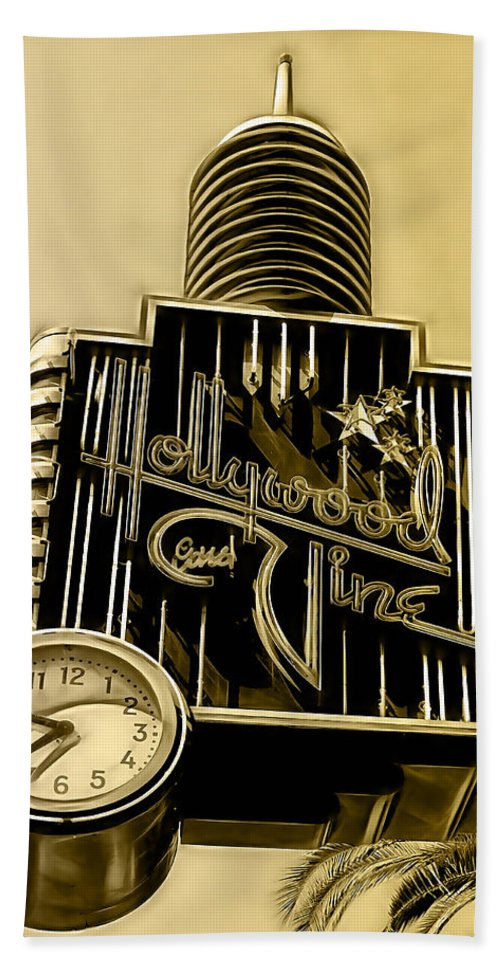 Hollywood Hand Towel featuring the mixed media Hollywood And Vine Street Sign Collection by Marvin Blaine