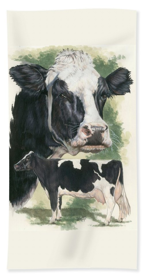 Cow Hand Towel featuring the mixed media Holstein by Barbara Keith