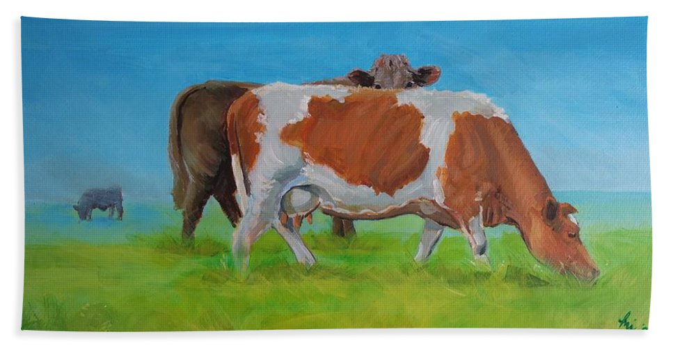 Holstein Hand Towel featuring the painting Holstein Friesian Cow And Brown Cow by Mike Jory