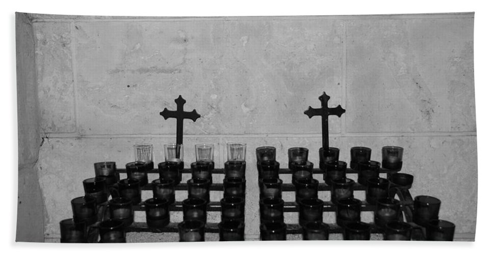 Black And White Bath Sheet featuring the photograph Holy Candles.... by Rob Hans