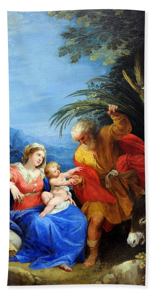 Flight Into Egypt Hand Towel featuring the photograph Holy Family by Munir Alawi