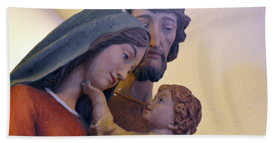 Catholic Bath Sheet featuring the photograph Holy Family Statue by Debby Pueschel