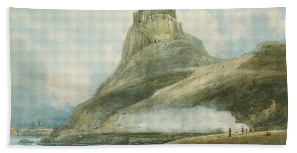 Lindisfarne Castle Bath Sheet featuring the painting Holy Island by Thomas Girtin