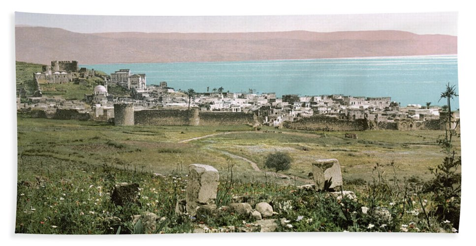 1895 Hand Towel featuring the photograph Holy Land: Tiberias by Granger