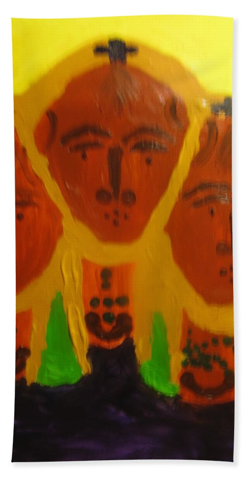 Jesus Hand Towel featuring the painting Holy Trinity by Gloria Ssali