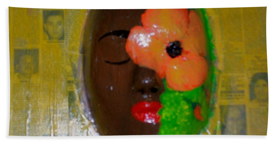 Mask Hand Towel featuring the painting Homage Three by Laurette Escobar