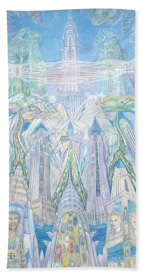 New York Cityscape Bath Towel featuring the painting Homage To New York And The Chrysler Building by Patricia Buckley