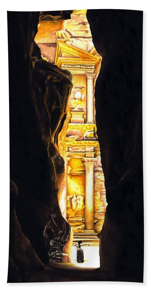 Bellydancer Bath Towel featuring the painting Homage to Petra by Richard Young