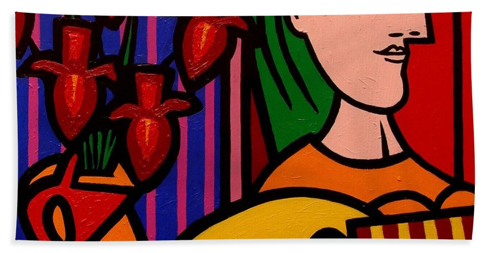 Picasso Hand Towel featuring the painting Homage To Picasso by John Nolan