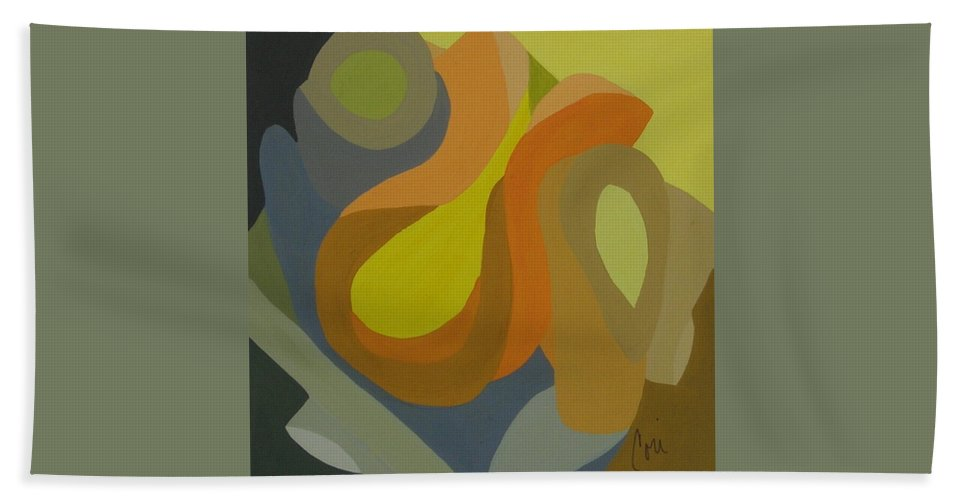 Abstract Hand Towel featuring the painting Homage To The 70's by Cori Solomon