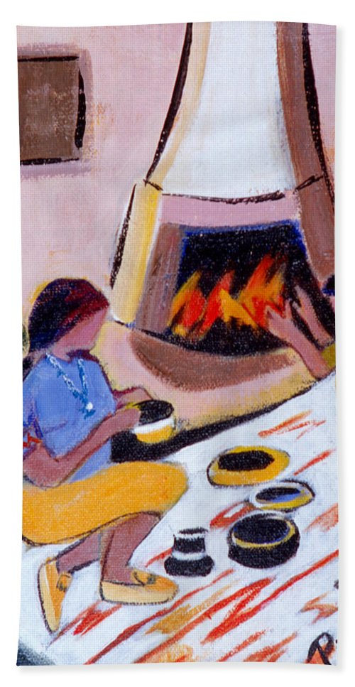 Taos Hand Towel featuring the painting Home And Hearth In Taos by Betty Pieper
