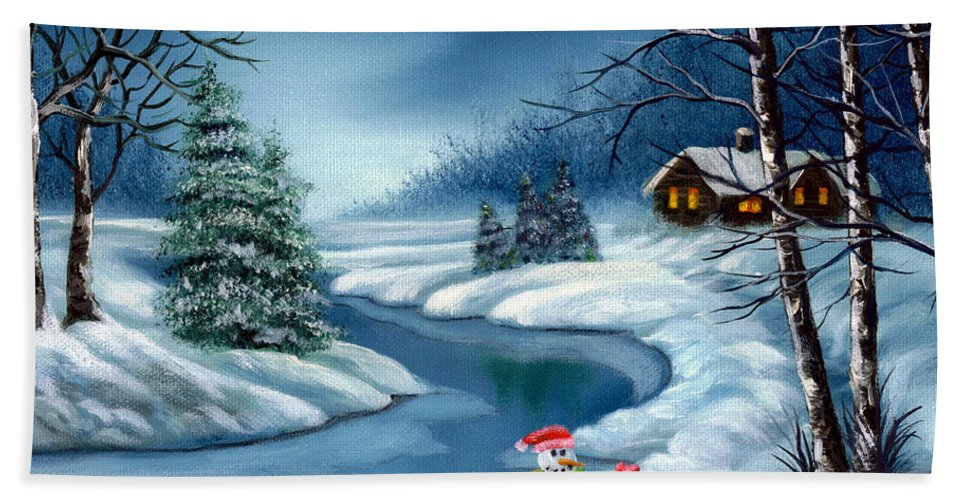 Holidays Hand Towel featuring the painting Home For The Holidays by Daniel Carvalho