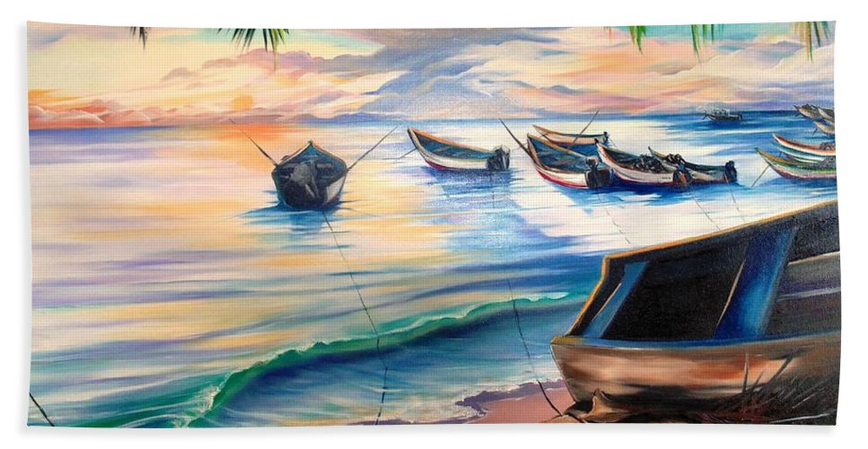 Ocean Painting Caribbean Painting Seascape Painting Beach Painting Fishing Boats Painting Sunset Painting Blue Palm Trees Fisherman Trinidad And Tobago Painting Tropical Painting Bath Towel featuring the painting Home From The Sea by Karin Dawn Kelshall- Best