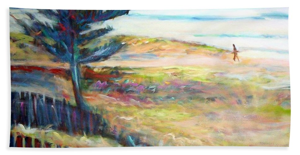 Beaches Hand Towel featuring the painting Home From The Sea by Winsome Gunning