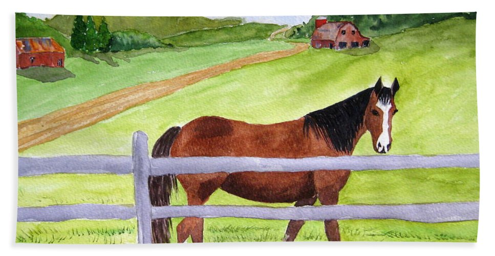 Horse Hand Towel featuring the painting Home On The Farm by Julia Rietz