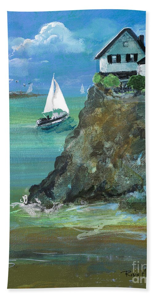 Home Bath Sheet featuring the painting Home Overlooking The Sea by Robin Maria Pedrero
