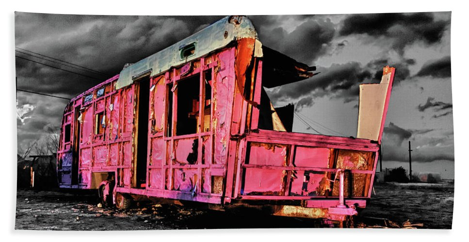 Airstream Bath Sheet featuring the photograph Home Pink Home Black And White by Scott Campbell