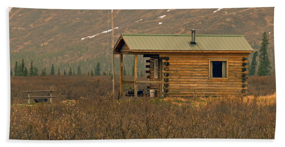 Log Cabin Bath Sheet featuring the photograph Home Sweet Fishing Home In Alaska by Denise McAllister