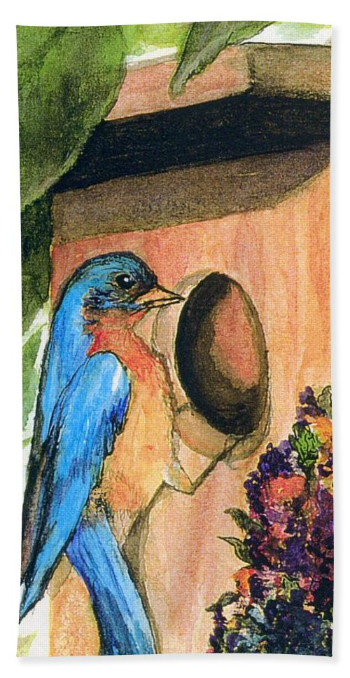 Bluebirds Hand Towel featuring the painting Home Sweet Home by Gail Kirtz